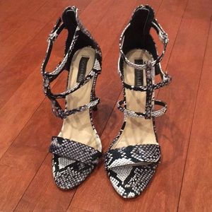 size 10 snakeskin strappy heels